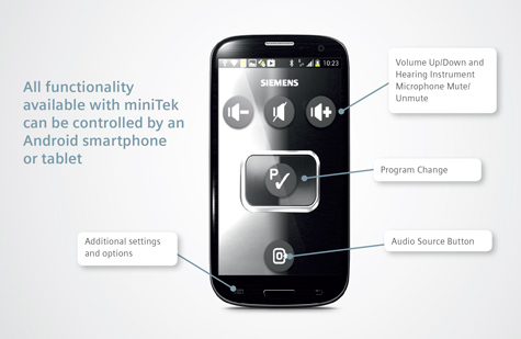 miniTek remote control app on an android smartphone.